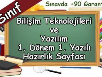 6. Sınıf Bilişim Teknolojileri 1. Dönem 1. Yazılı Hazırlık