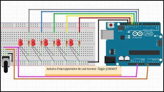 Arduino Potansiyometre ile LED Kontrol Devresi