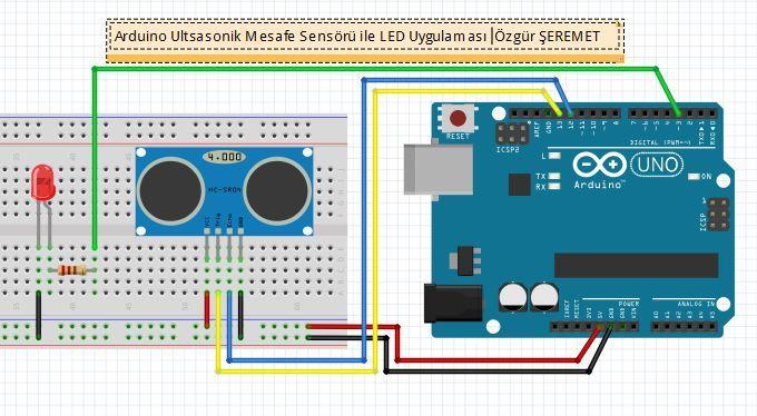 Arduino ultrasonik mesafe sensörü devresi