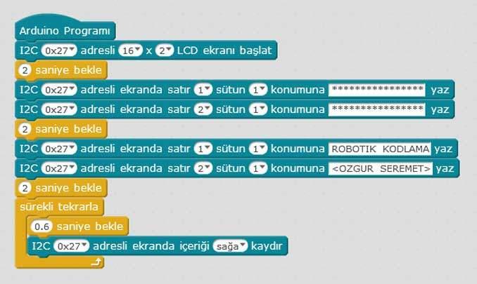 Arduino LCD Ekran ile Kayan Yazı (I2C) Uygulaması Kodları