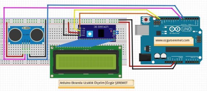 Arduino LCD Ekranda Uzaklık Ölçelim Uygulaması Devresi