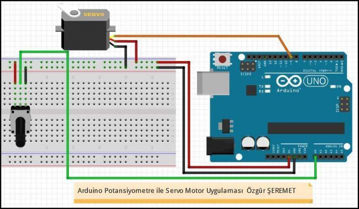 Arduino Potansiyometre ile Servo Motor Devresi