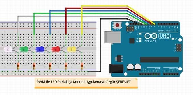 Arduino ile PWM - LED Parlaklığı Kontrol Devresi